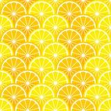 无缝的样式用柠檬和橙色切片 免版税库存照片