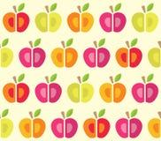 无缝的样式用桃红色和橙色苹果 向量例证