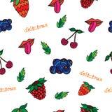 无缝的样式用樱桃、叶子、莓、草莓、嘴唇和舌头 向量背景 库存图片