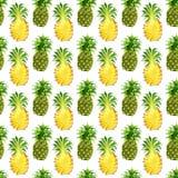 无缝的样式用热带异乎寻常的果子 在白色背景的菠萝切片 免版税库存图片