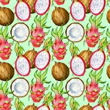 无缝的样式用热带异乎寻常的果子 龙在绿色背景的果子和椰子切片 免版税库存图片
