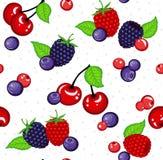 无缝的样式用狂放的莓果和绿色叶子 免版税库存图片