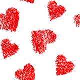 无缝的样式用画在白色的手红色心脏 向量例证