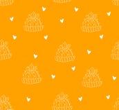 无缝的样式用等高仙人掌和心脏在橙色背景 向量 库存照片