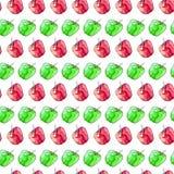 无缝的样式用红色和绿色水彩苹果 图库摄影