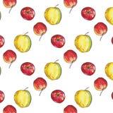 无缝的样式用红色和黄色苹果 向量例证