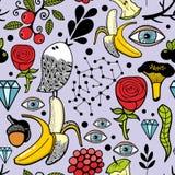 无缝的样式用肉眼和自然元素 艺术轻的向量世界 向量例证