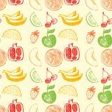 无缝的样式用菜单新鲜的汁液的手拉的果子 免版税库存照片