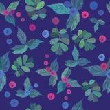 无缝的样式用蓝莓 免版税库存图片