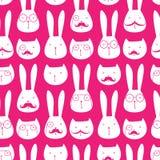 无缝的样式用逗人喜爱的兔子和猫 库存图片