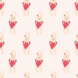 无缝的样式用逗人喜爱的兔子 库存照片