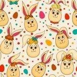 无缝的样式用逗人喜爱的复活节兔子 免版税图库摄影