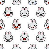 无缝的样式用逗人喜爱的kawaii emoji兔子导航动画片例证 库存例证