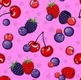无缝的样式用野生莓果 免版税库存照片