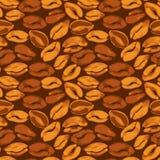 无缝的样式用难看的东西水彩画咖啡豆 背景 库存图片