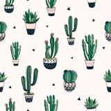 无缝的样式用仙人掌和多汁植物 免版税库存图片
