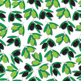 无缝的样式用黑和绿橄榄 库存图片