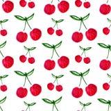 无缝的样式用水彩樱桃 不尽的印刷品背景纹理 织品设计 水彩果子传染媒介 免版税图库摄影