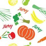 无缝的样式用水果和蔬菜 免版税图库摄影
