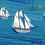 无缝的样式的例证与航行船的在水 在蓝色海的图画小船有波浪的 免版税库存图片