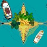 无缝的样式的例证与顶视图船、棕榈、毛巾和海岛的在海附近 乘客巡航图画  免版税图库摄影