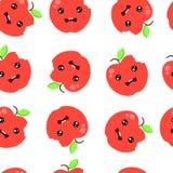 无缝的样式背景逗人喜爱的红色苹果传染媒介例证 皇族释放例证