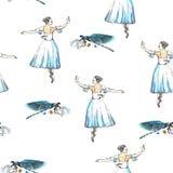 无缝的样式芭蕾舞女演员和蜻蜓 免版税库存照片