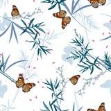 无缝的样式花卉与东方蝴蝶在竹庭院里 手拉的向量例证 时尚的,织品设计, 库存例证
