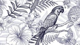 无缝的样式花和鸟 免版税库存图片