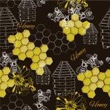 无缝的样式蜂蜜 向量例证