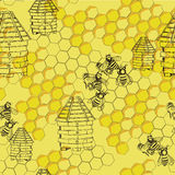 无缝的样式蜂蜜 皇族释放例证
