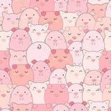 无缝的样式逗人喜爱猪微笑 向量例证