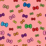 无缝的样式逗人喜爱的丝带polkadot背景 库存例证