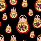 无缝的样式逗人喜爱的俄国玩偶mtryoshka 库存例证
