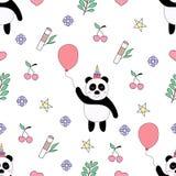 无缝的样式逗人喜爱的熊猫动画片手拉的样式 皇族释放例证