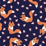 无缝的样式逗人喜爱的狐狸和蘑菇 库存例证