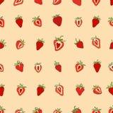无缝的样式集合红色草莓 免版税库存照片