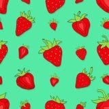 无缝的样式集合红色草莓 库存图片