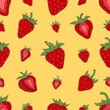 无缝的样式集合红色草莓 图库摄影