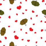 无缝的样式雨投下红色心脏,在白色,情人节,传染媒介, eps 10的绿色伞 向量例证