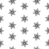 无缝的样式雪花抽象隔离,设计的冬天元素 库存照片