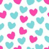 无缝的样式颜色绘了心脏 库存例证