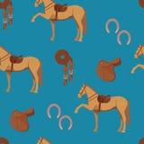 无缝的样式马和齿轮 免版税库存图片