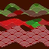 无缝的样式龙鱼鳞与日本波浪圈子样式黑褐色伯根地褐红的绿色稀土的简单的自然背景 库存例证