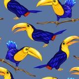 无缝的样式,与鸟的背景 也corel凹道例证向量 向量例证