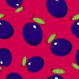 无缝的样式,在桃红色背景的李子 库存照片