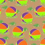 无缝的样式,在草的球 免版税库存照片