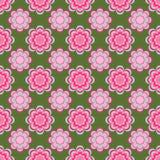 无缝的样式,在绿色背景的异常的桃红色花 免版税库存图片