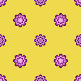 无缝的样式,在黄色背景的异常的花 库存图片