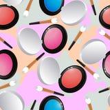 无缝的样式,构成的化妆用品 库存照片